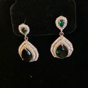 Tear drop emerald earrings